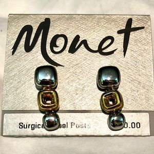 Monet Vintage NWT Two-Tone Surgical Post Earring
